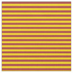 [ Thumbnail: Yellow & Brown Colored Lined Pattern Fabric ]