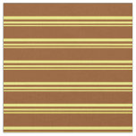 [ Thumbnail: Yellow & Brown Colored Striped/Lined Pattern Fabric ]