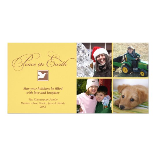 Yellow brown dove peace on earth holiday greeting card