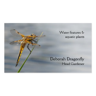 Yellow brown dragonfly business card