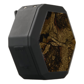 Yellow Brown Flowers Black Bluetooth Speaker