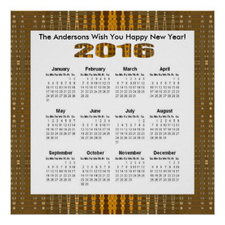 Yellow Brown Glow Pattern 2016 yearly calendar Poster