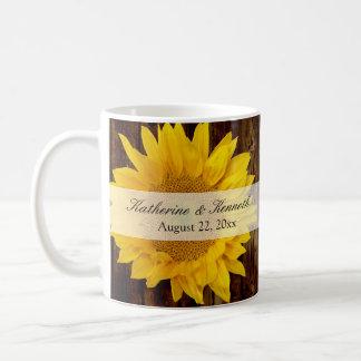 Yellow Brown Late Summer Sunflower Wedding Coffee Mug