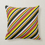 [ Thumbnail: Yellow, Brown, Light Cyan & Black Lines Pattern Throw Pillow ]