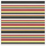 [ Thumbnail: Yellow, Brown, Mint Cream & Black Stripes Fabric ]