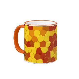 yellow brown mosaic - taza, vaso de café/ taza de dos colores