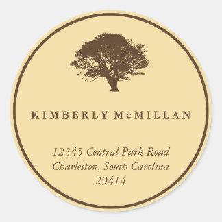 Yellow brown oak tree circle custom address label