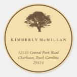 Yellow brown oak tree circle custom address label stickers