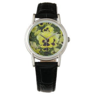 Yellow_Brown_Pansies, _Ladies_Black_Leather_Watch. Relojes De Mano