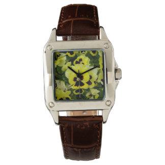 Yellow_Brown_Pansies, Reloj De Mano