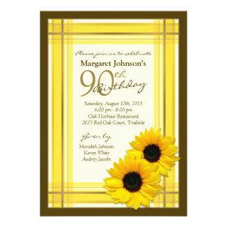 Yellow Brown Plaid Sunflower 90th Birthday Invites