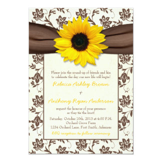 Yellow Brown Ribbon Floral Sunflower Wedding Card