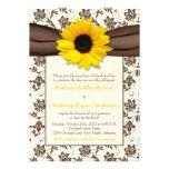 Yellow Brown Ribbon Floral Sunflower Wedding Custom Invites