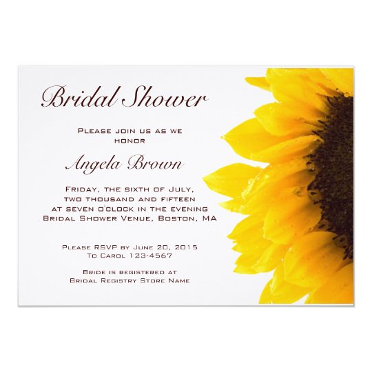 Yellow Brown Sunflower Bridal Shower Invitation
