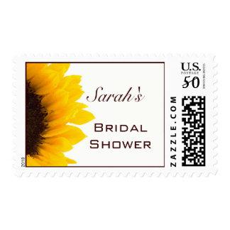 Yellow Brown Sunflower Bridal Shower Postage