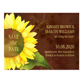 Yellow Brown Sunflower Fall Save the Date Postcard
