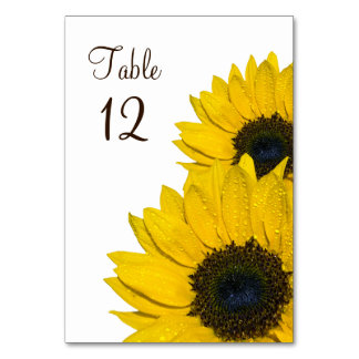 Yellow Brown Sunflower Flower Wedding Table Card