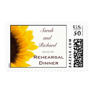 Yellow Brown Sunflower Wedding Rehearsal Dinner Postage