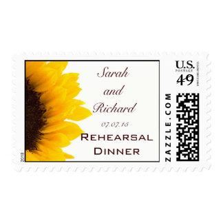Yellow Brown Sunflower Wedding Rehearsal Dinner Postage Stamp