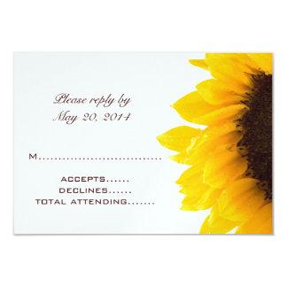 Yellow Brown Sunflower Wedding RSVP Cards