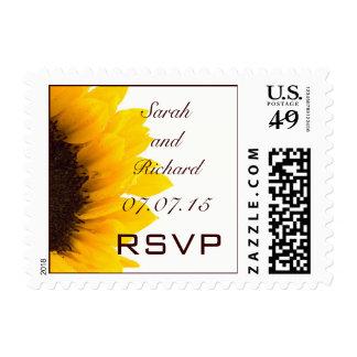 Yellow Brown Sunflower Wedding RSVP Postage