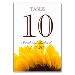 Yellow Brown Sunflower Wedding Table Number Card Table Card