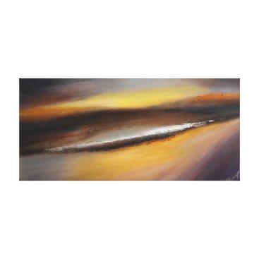 Beach Themed Yellow Brown Sunset Canvas Print