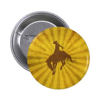 Yellow Brown Vintage Cowboy 2 Inch Round Button