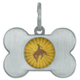 Yellow Brown Vintage Cowboy Pet ID Tag