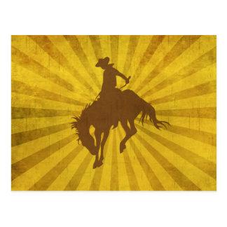 Yellow Brown Vintage Cowboy Postcard