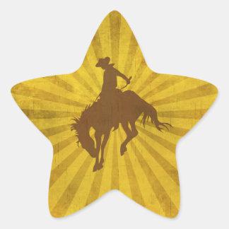 Yellow Brown Vintage Cowboy Star Sticker