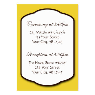 Yellow Brown & White Wedding Guest Reference Card