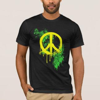 Yellow Brushed Peace Symbol Green Paint splatter T-Shirt