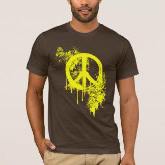Yellow Brushed Peace Symbol/ Paint splatter T-Shirt