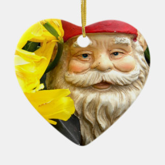 Yellow Brushes Double-Sided Heart Ceramic Christmas Ornament
