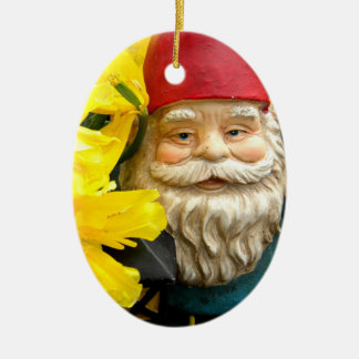 Yellow Brushes Double-Sided Oval Ceramic Christmas Ornament