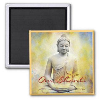 Yellow Buddha, Om Shanti 2 Inch Square Magnet