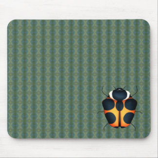 Yellow bug with dark spots on Green Pattern Mouse Pad
