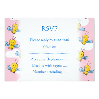 Yellow Bugs and Pink Sky Pattern 3.5x5 Paper Invitation Card