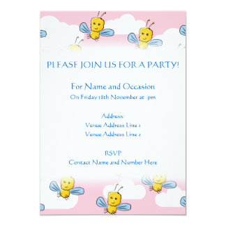 Yellow Bugs and Pink Sky Pattern 5x7 Paper Invitation Card