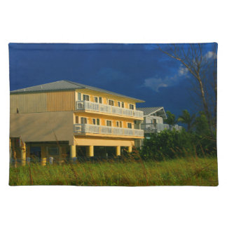 yellow building beach homes sat cloth placemat