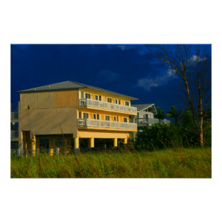 yellow building beach homes sat poster