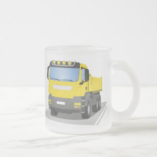 yellow building sites truck frosted glass coffee mug