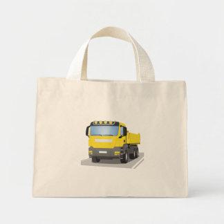 yellow building sites truck mini tote bag