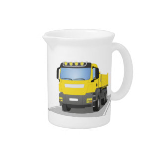 yellow building sites truck pitcher