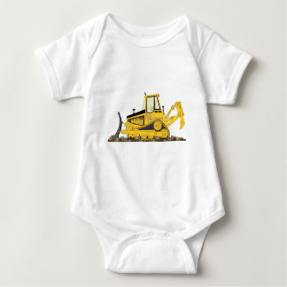 Yellow Bulldozer Baby Bodysuit