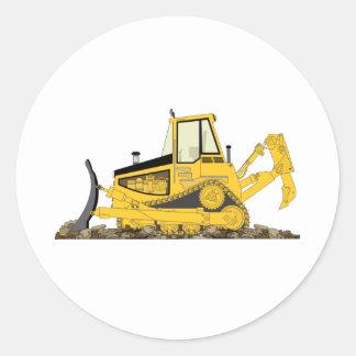 Yellow Bulldozer Classic Round Sticker