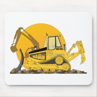 Yellow Bulldozer Sun Mouse Pad