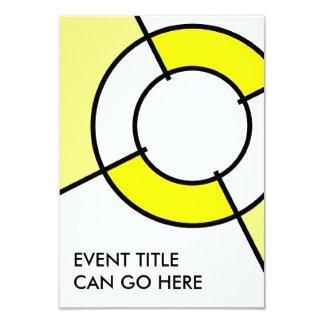 yellow bullseye 3.5x5 paper invitation card