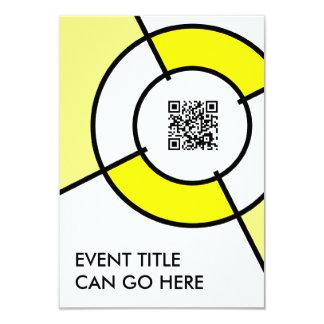 yellow bullseye QR code 3.5x5 Paper Invitation Card